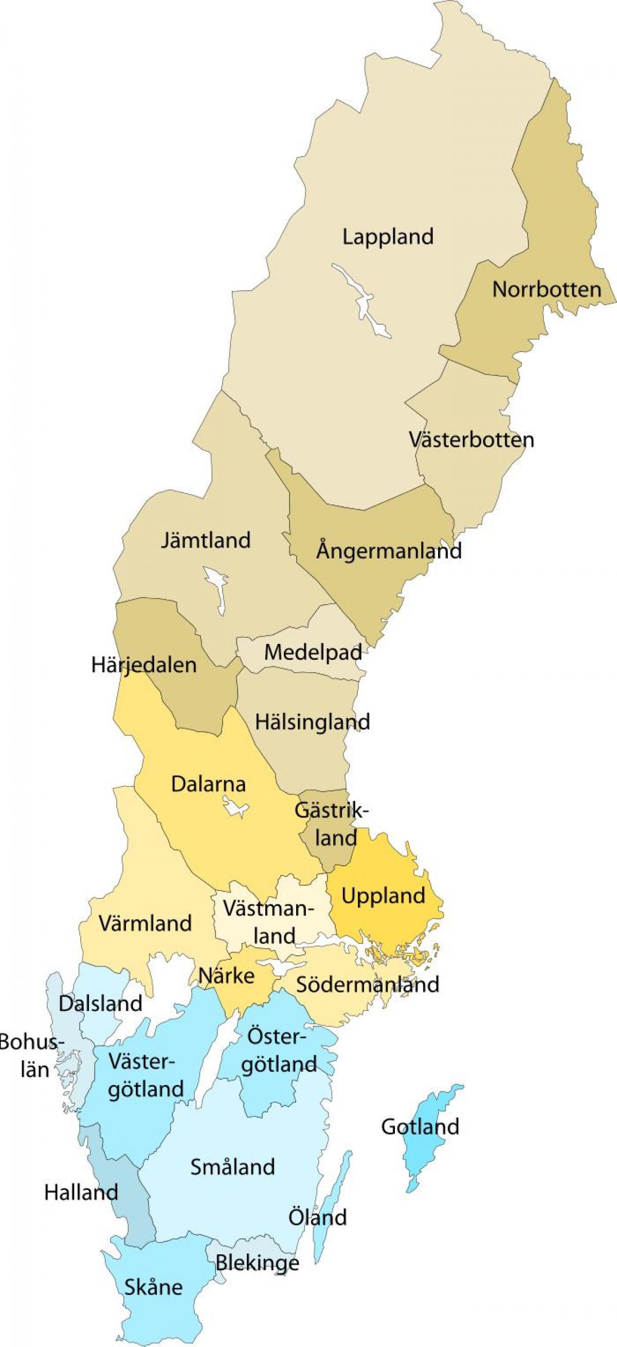 Lappland Karte.Lappland Schweden Landkarte Karte Von Lappland Schweden