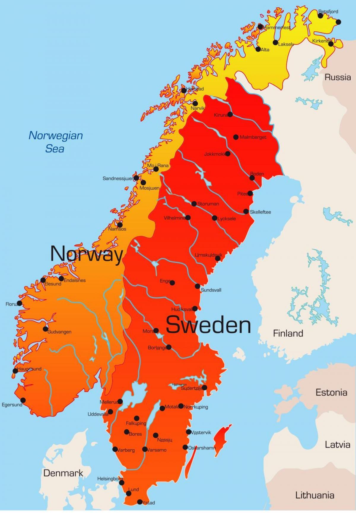 Karte Von Europa Mit Städten.Schweden Landkarte Städte Karte Von Schweden Mit Städten Europa