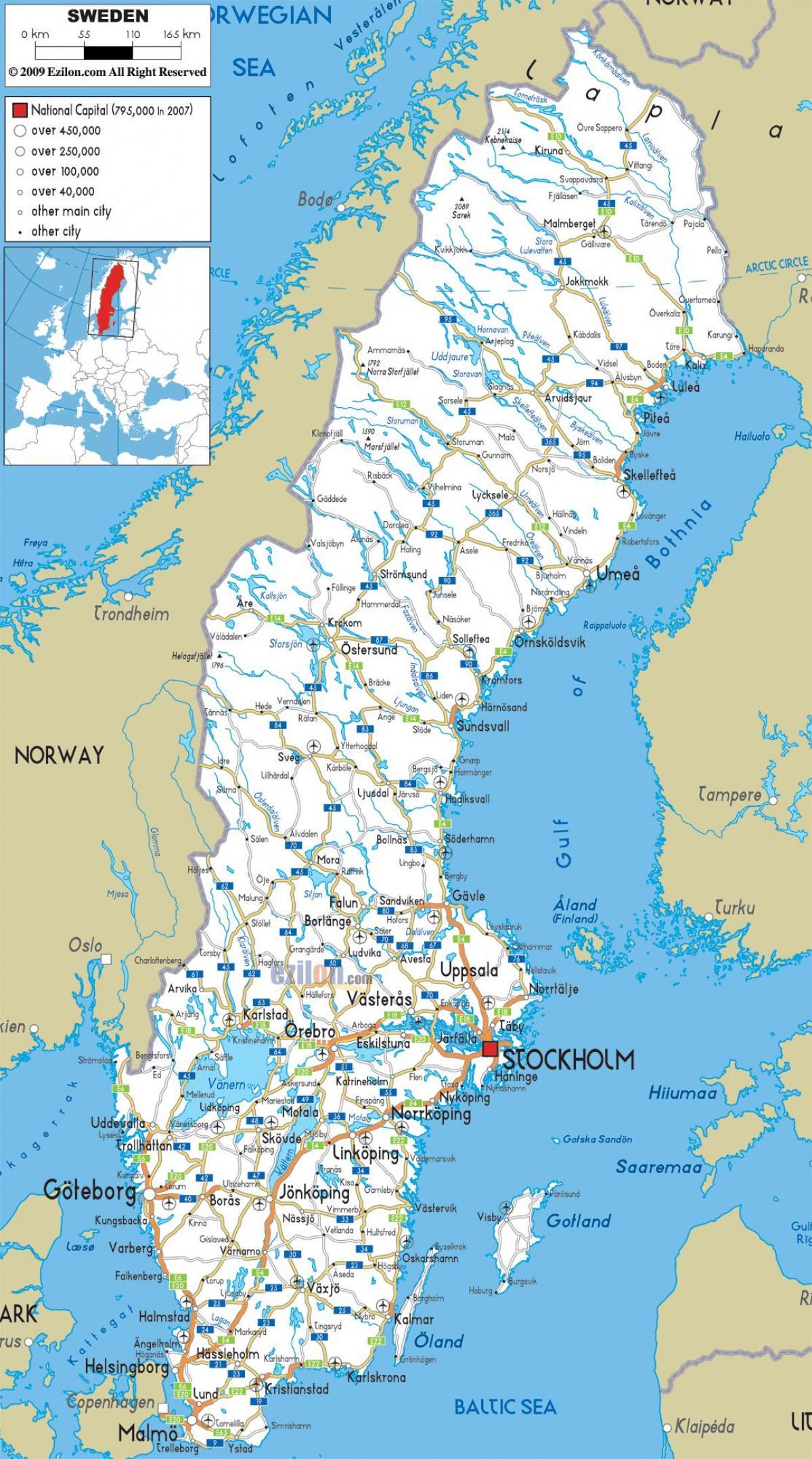 Karte Von Europa Mit Städten.Schweden Städte Karte Schweden Landkarte Mit Städten Europa Nord